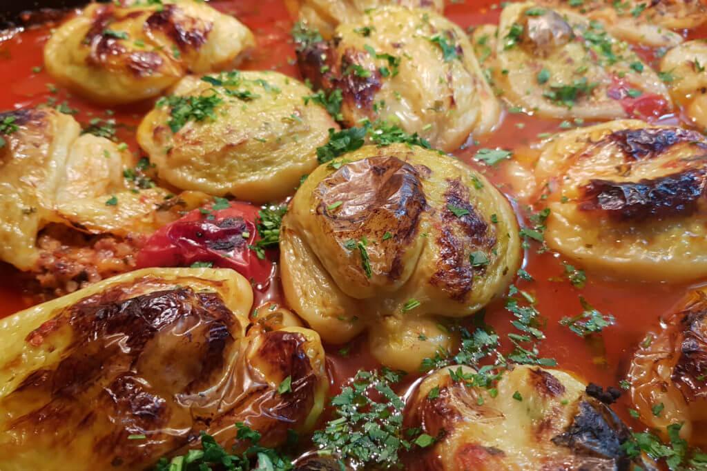 Punjene paprike sa mlevenim mesom - Ručak